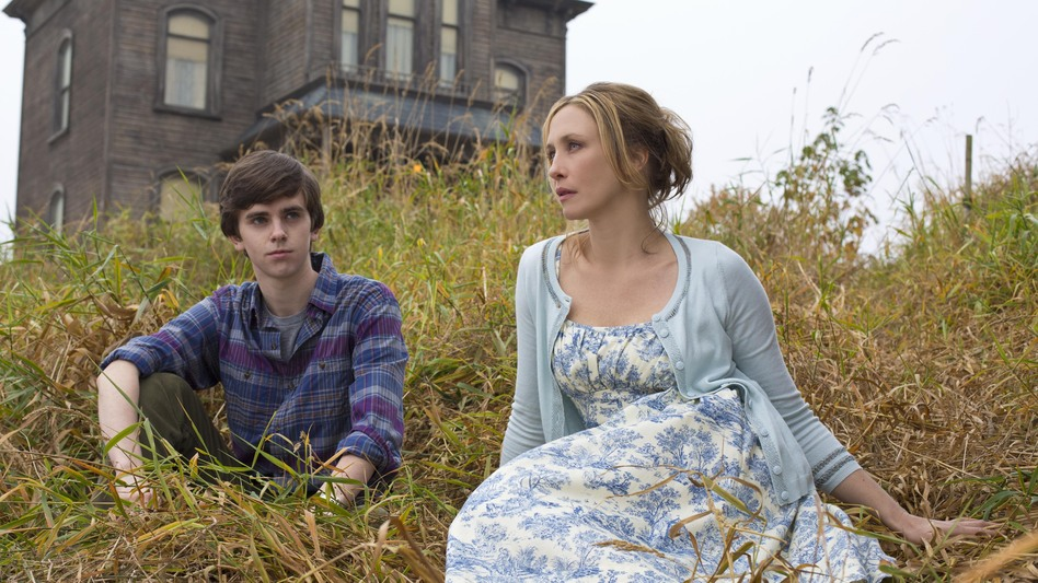 Freddie Highmore and Vera Farmiga are Norman and Norma Bates — eeew — in Bates Motel, the new A&E prequel to Alfred Hitchcock's Psycho. (A&E)