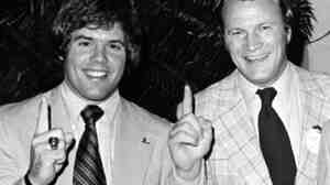 "Oklahoma quarterback Steve Davis, left, and coach Barry Switzer celebrate the team's No. 1 ranking after the Orange Bowl in 1976. Davis, 60, died Sunday in the crash of a small plane. Switzer called Davis a ""great role model for young people."""