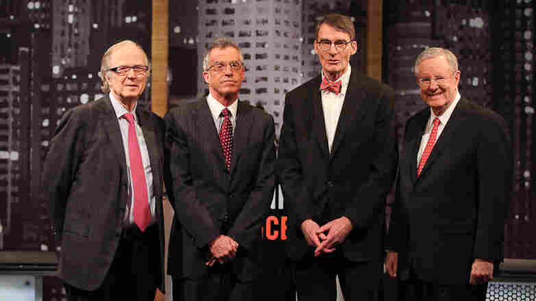 (From left) John Taylor, Frederic Mishkin, James Grant and Steve Forbes traded arguments during the latest Intelligence Squared U.S. debate.