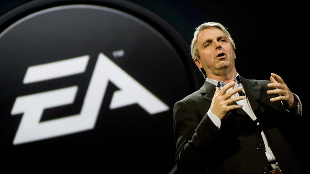 Electronic Arts CEO John Riccitiello, seen here speaking at the E3 Expo in 2010, is stepping down, the company announced Monday. (Getty Images)