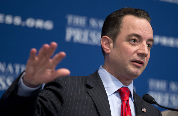 Republican National Committee Chairman Reince Priebus speaks at the National Press Club in Washington, D.C., on Monday.