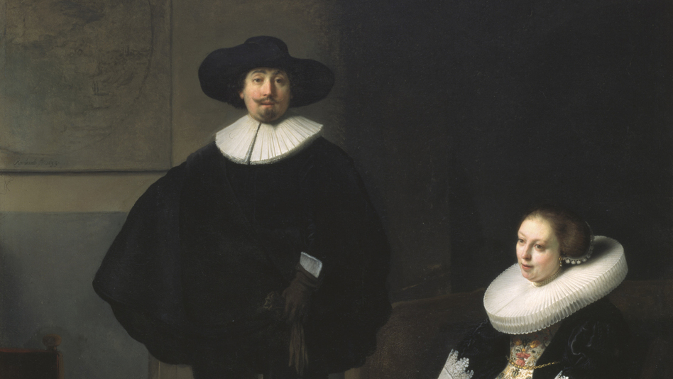 Rembrandt, A Lady and Gentleman in Black, 1633. Oil on canvas, 131.6 x 109 cm. Inscribed at the foot: Rembrandt.ft: 1633. This monumental work hung in a prominent spot in the Dutch Room, visible through its windows overlooking the court. Rembrandt completed this work in his second year in Amsterdam in 1632. (FBI)