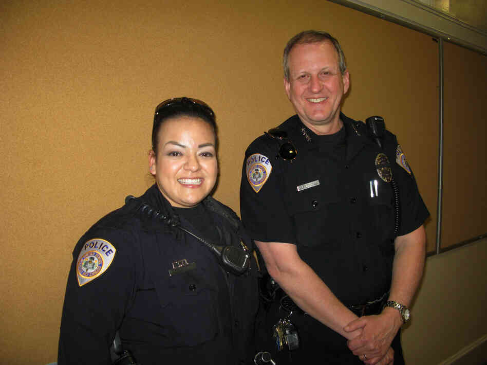 Stockton Unified School District Police Officer Myra Franco and Chief Jim West patrol 50 schools in California's Central Valley region. One of the campuses was the site of a 1989 shooting massacre.