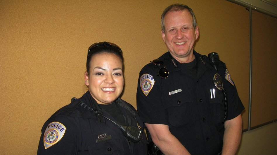 Stockton Unified School District Police Officer Myra Franco and Chief Jim West patrol 50 schools in California's Central Valley region. One of the campuses was the site of a 1989 shooting massacre. (NPR)