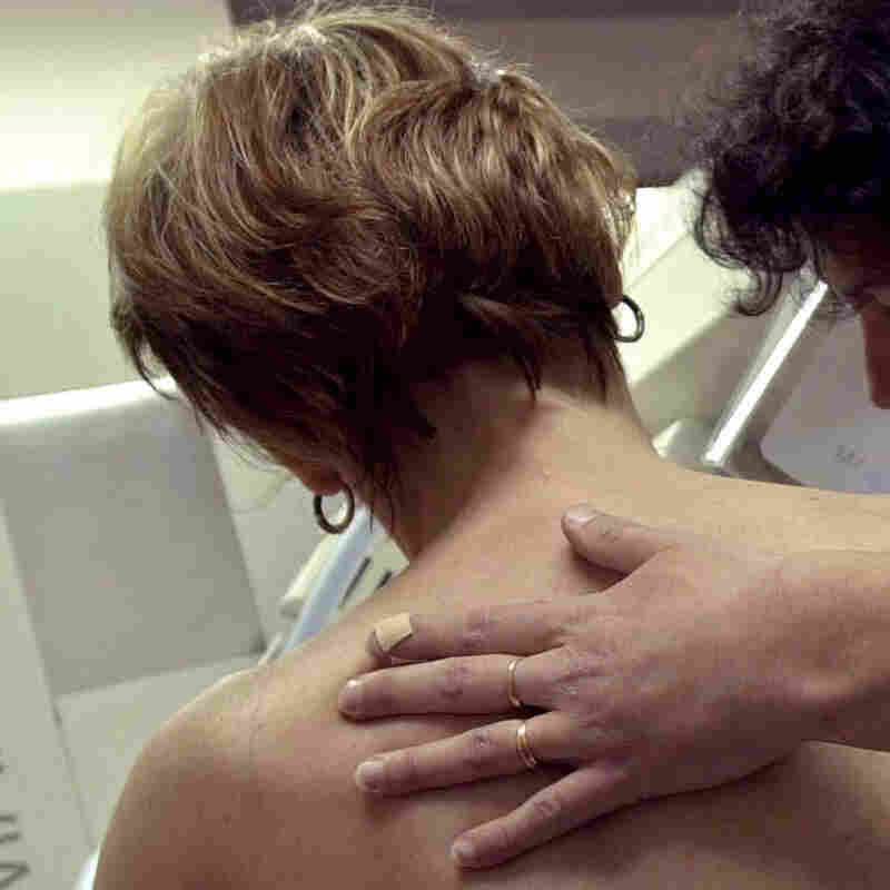 A woman gets a mammogram in Putanges, France.