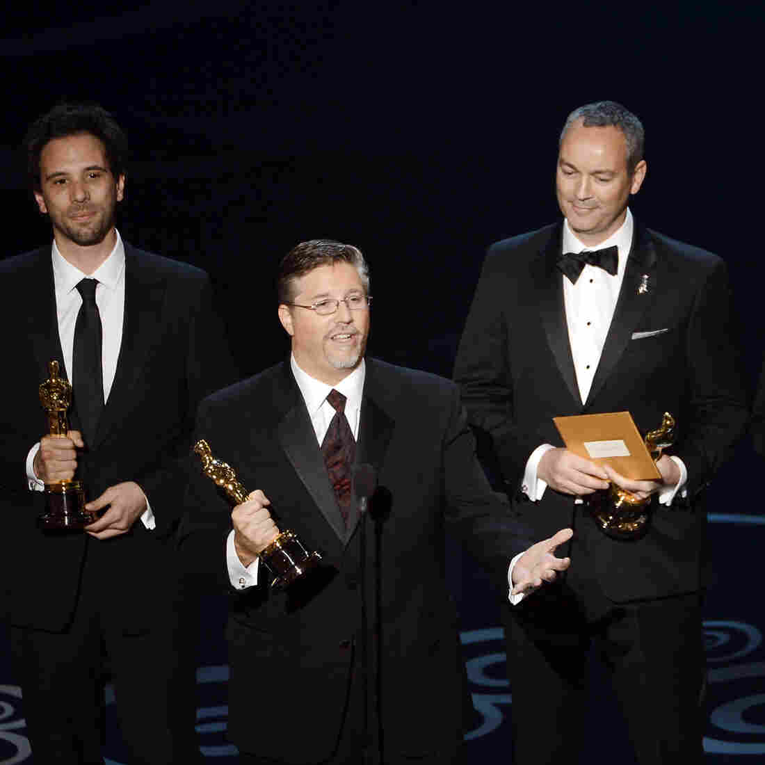 Guillaume Rocheron, Bill Westenhofer, Erik-Jan De Boer and Donald R. Elliott at the 85th Annual Academy Awards in February. Rhythm & Hues Studios, the company that produced the effects for winning film Life of Pi, recently declared bankruptcy.