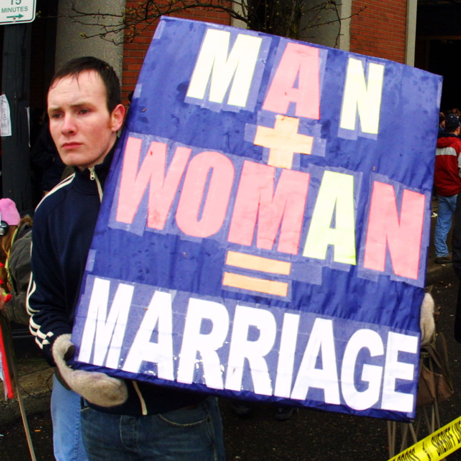 Demonstrators rally against same-sex marriages in March 2004 in Portland, Ore.