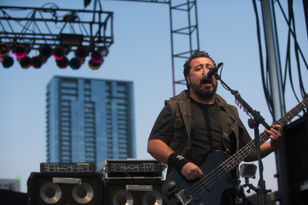 Molotov's Miky Huidobro performs at Auditorium Shores. The Mexico City band mixes politics and rock en Español.