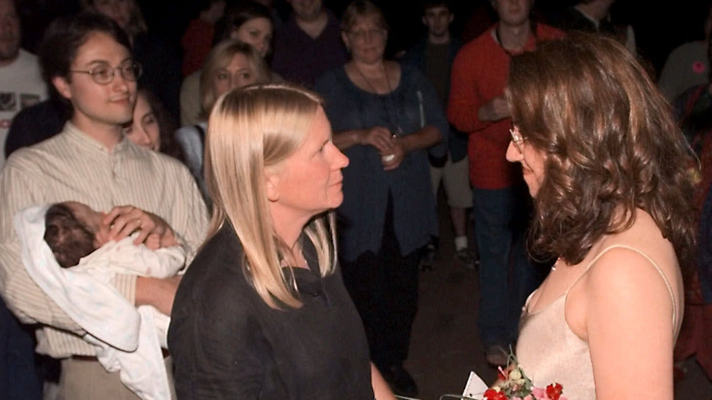 Carolyn Conrad (right) and Kathleen Peterson exchange vows during their civil union ceremony in Brattlleboro, Vt., shortly after midnight on July 1, 2000.