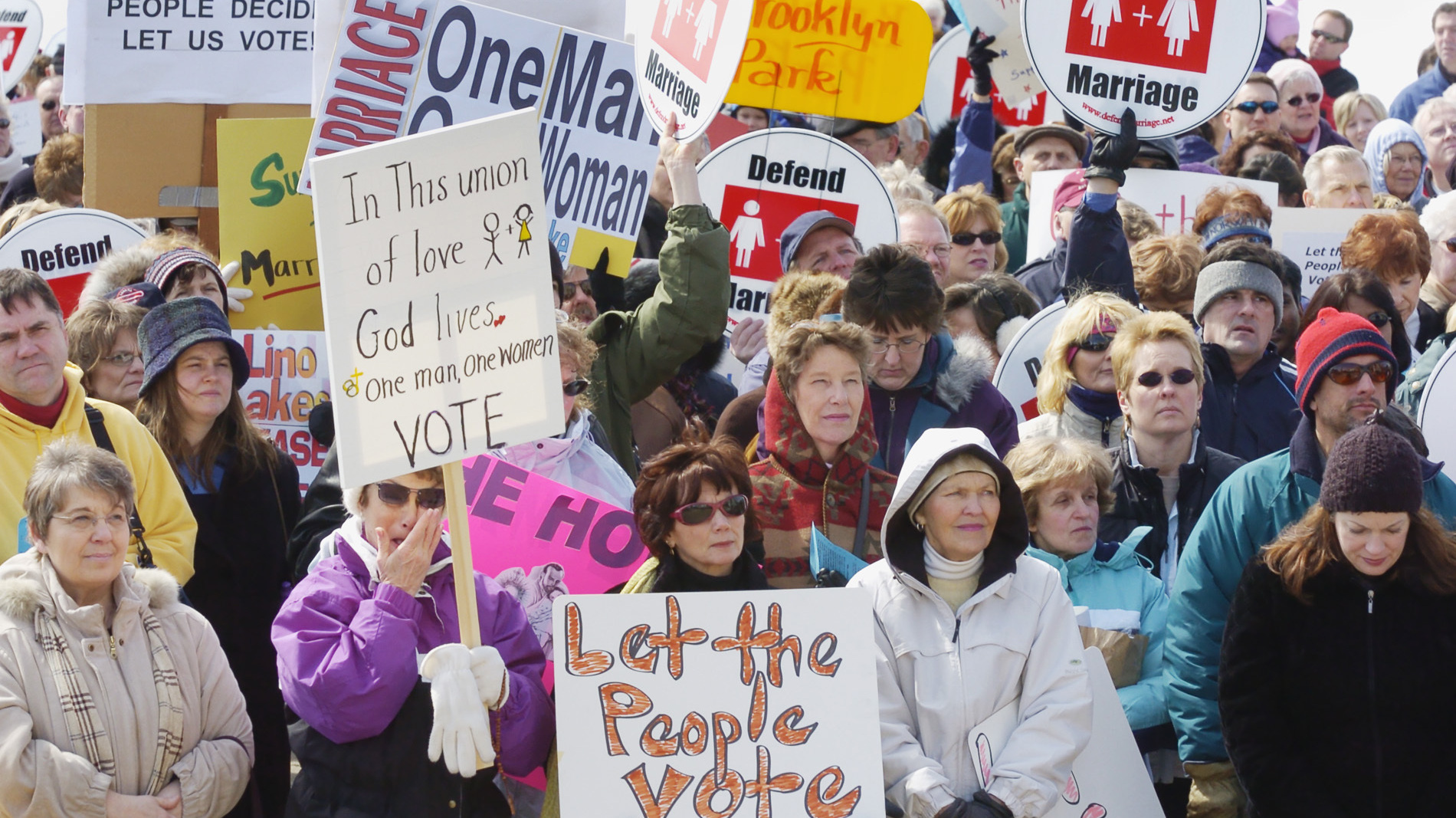Demonstrators rally in support of what they call traditional marriage on March 21, 2006, at the State Capitol in St. Paul, Minn.