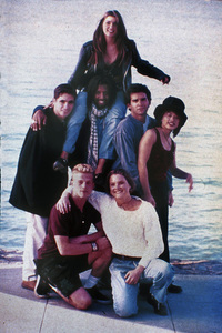 Pedro Zamora, standing at left, is shown with other cast members from MTV's The Real World: San Francisco.