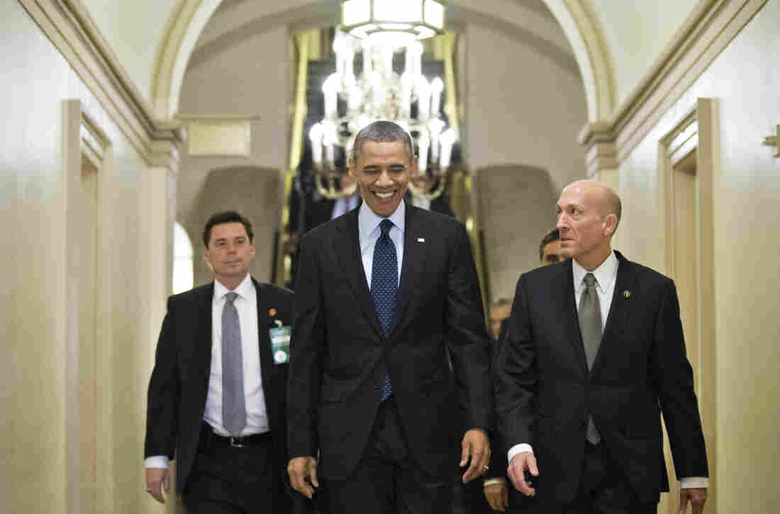 President Obama arrives on Capitol Hill earlier this month.