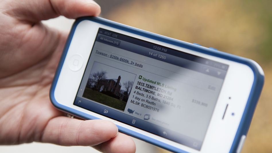 Bove gets text alerts of new homes coming on the market. (Lauren Rock for NPR)