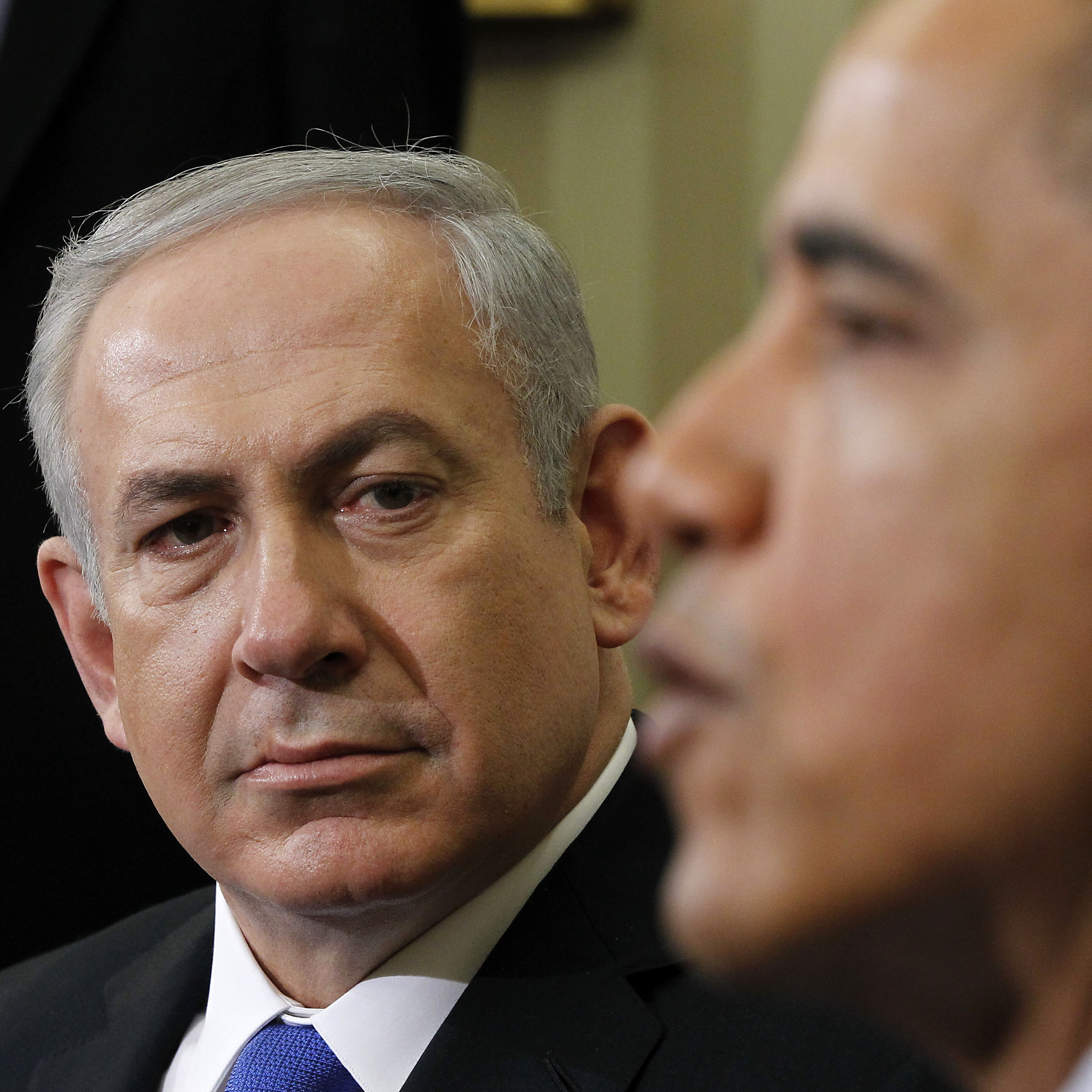 Israeli Prime Minister Benjamin Netanyahu and President Obama are expected to talk about Iran's nuclear program when they meet Wednesday in Israel. The Palestinian issue is currently seen as a lower priority. The leaders are shown here at a March 5, 2012, White House meeting.