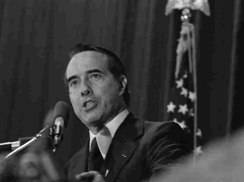 Sen. Bob Dole, R-Kan., speaks on Oct. 22, 1977, in Atlanta. A political scientist says the GOP has suffered some missteps in its outreach efforts to certain voters since at least the time of Dole.