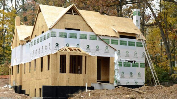 A home under construction in Atlanta late last year. The housing sector is now one of the economy's bright spots. (EPA /LANDOV)