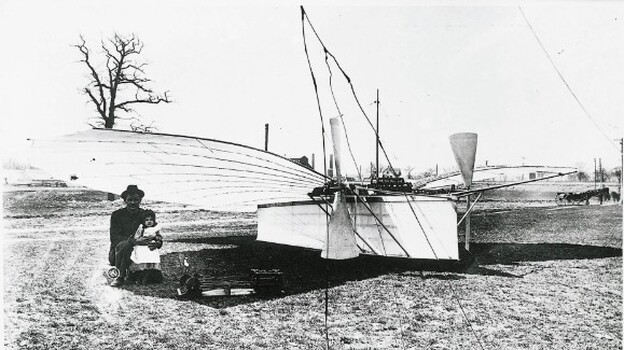 Gustave Whitehead and the No. 21. Connecticut claims that Whitehead's half-mile flight in 1901 was the first flight, not the well-known Wright brothers' flight that occurred two years later. (Courtesy Deutsches Flugpioniermuseum Gustav Weisskopf Leutershausen/Historical Flight Research Committee Gustave Whitehead)