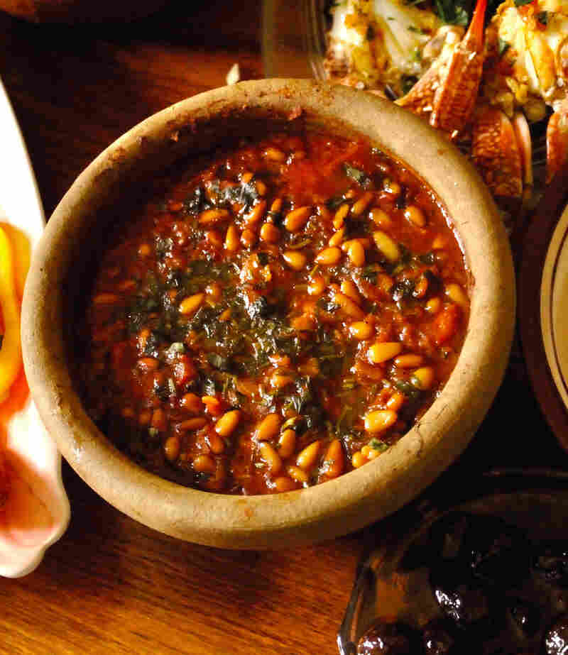 """Zibdiyit gambari, or shrimp cooked in a clay pot. """"Of all of Gaza's delicacies,"""" the authors write, """"this recipe is the one visitors most frequently request."""""""