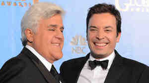 Jimmy Fallon, right, and Jay Leno at the 2013 Golden Globe Awards in Beverly Hills.