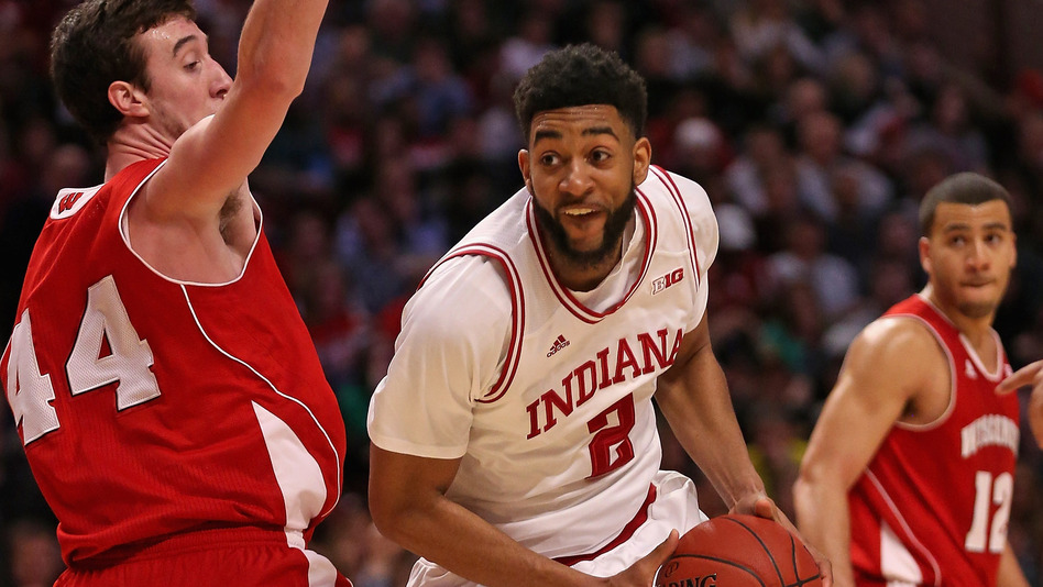 Christian Watford of the Indiana Hoosiers moves against Frank Kaminsky of the Wisconsin Badgers during a semifinal game of the Big Ten Basketball Tournament at the United Center on March 16, 2013. (Getty Images)