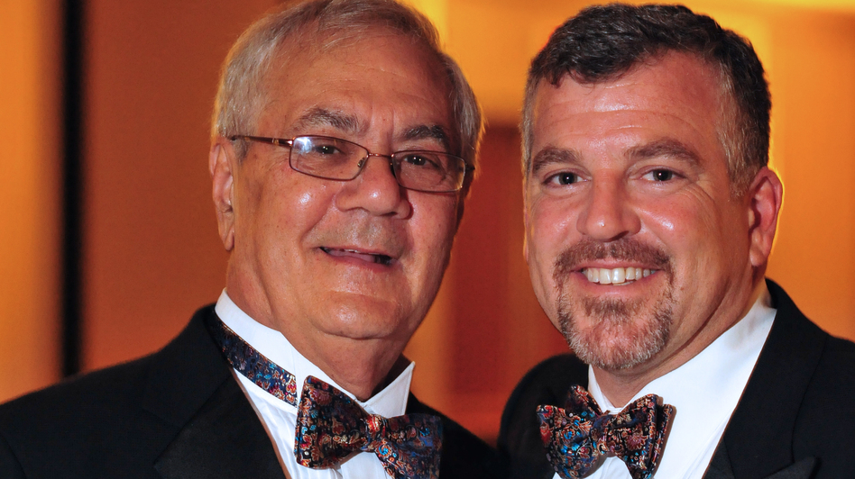 U.S. Rep. Barney Frank, D-Mass., (left) and Jim Ready pose at their wedding reception on July 7, 2012. Frank married his longtime partner in a ceremony officiated by Massachusetts Gov. Deval Patrick in Newton. (AP)