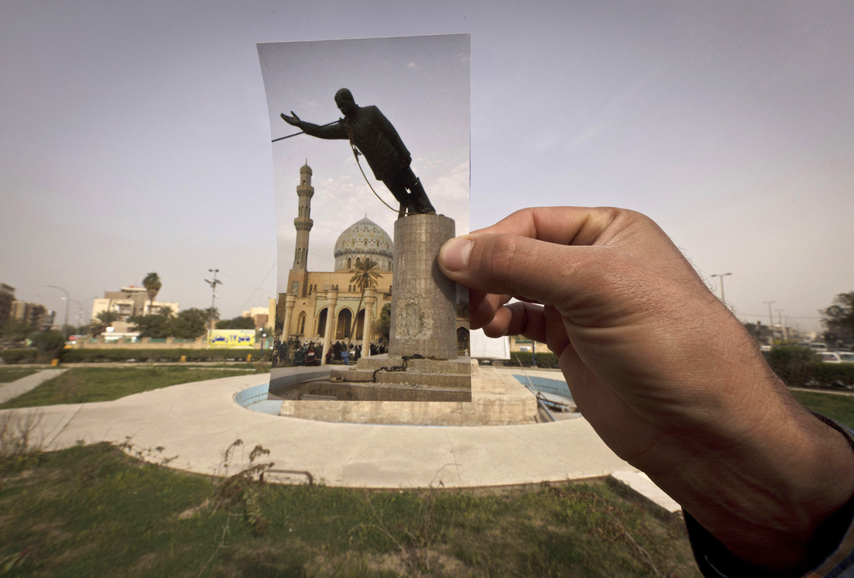 Ten years ago on live television, U.S. Marines memorably hauled down a Soviet-style statue of Saddam Hussein in Firdous Square -- photographed in 2003 by Jerome Delay of AP. Today, that pedestal in central Baghdad stands empty. Bent iron beams sprout from the top, and posters of anti-American Shiite cleric Muqtada al-Sadr in military fatigues are pasted on the sides.