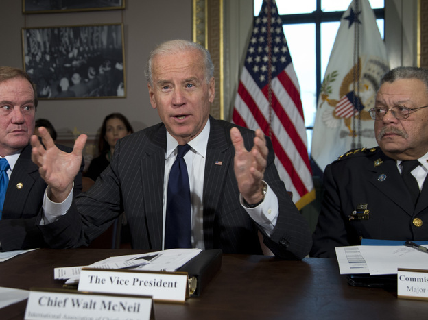 Vice President Biden at a December 2012 meeting of police chiefs on gun control, held in Washington, D.C.