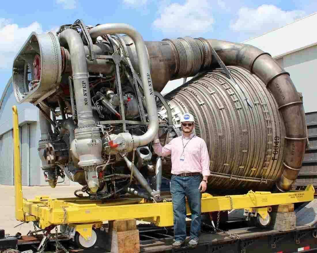 An F-1 engine, originally stored at the Smithsonian National Air and Space Museum in Washington, arrives at NASA's Marshall Space Flight Center in Huntsville, Ala. The engine's pristine condition made its components ideal for refurbishment and testing.