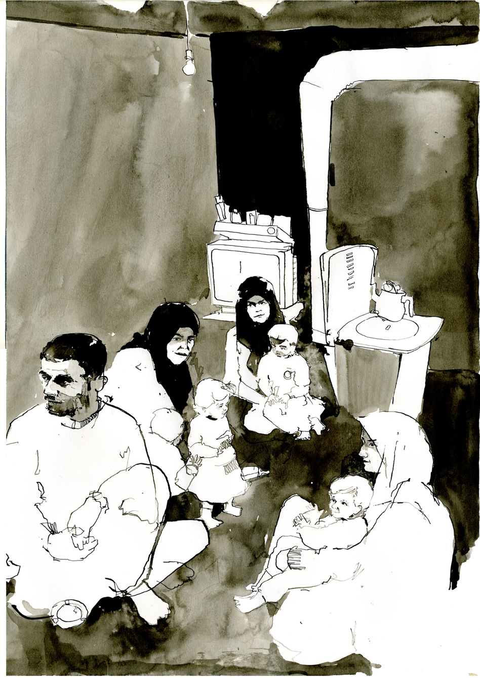 Although they are in Turkey, many Syrian refugees are so scared of the regime that they will not allow their pictures to be taken; even drawing takes some persuading. I felt such compassion for these people, but none more so when they thanked me for drawing them. So generous and so brave. (Courtesy of George Butler)