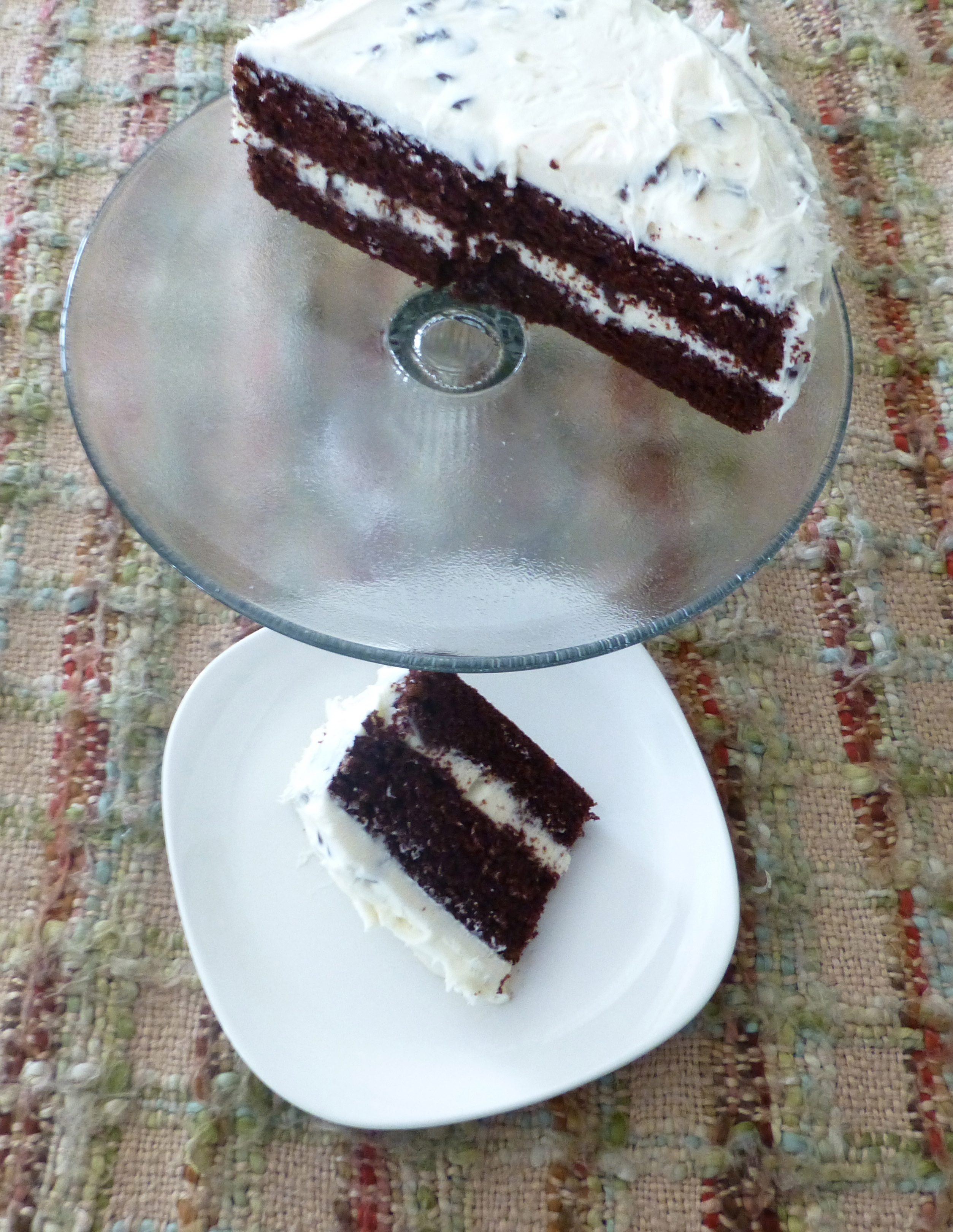 Chocolate Mayonnaise Cake With Vanilla Chocolate Chip Buttercream Frosting
