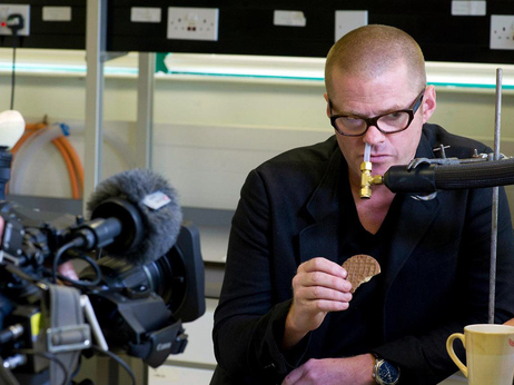 Chef Blumenthal measures cookie flavor