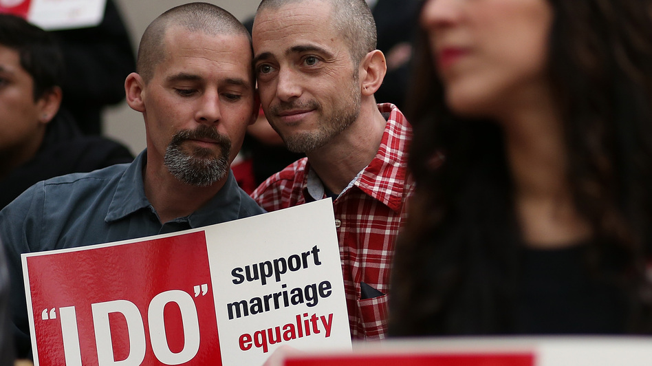 Frank Capley (left) and Joe Alfano protest the San Francisco county clerk's denial of marriage licenses to same-sex couples on Feb. 14. (Getty Images)