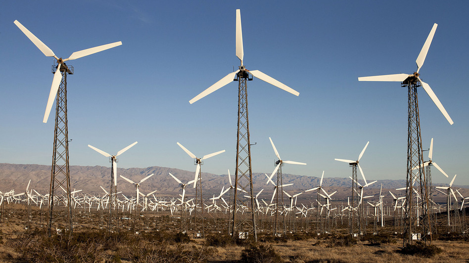 Wind turbines at the San Gorgonio Pass Wind Farm in Whitewater, Calif., in 2012. (Bloomberg via Getty Images)