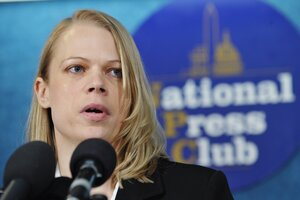 "Myla Haider (shown at a press conference in Washington, D.C., in 2011) says she initially decided not to report that she'd been raped because she'd ""never met one victim who was able to report the crime and still retain their military career."""