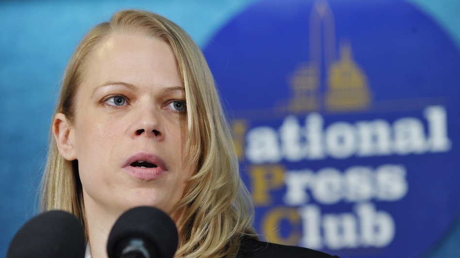 "Myla Haider (shown at a press conference in Washington, D.C., in 2011) says she initially decided not to report that she'd been raped because she'd ""never met one victim who was able to report the crime and still retain their military career."" (AFP/Getty Images)"