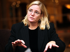 Lawyer Susan Burke (shown here at a press conference in Abu Dhabi in 2010) has sued the Pentagon on behalf of multiple plaintiffs in rape cases, including Haider. Burke says the military justice system needs to change.