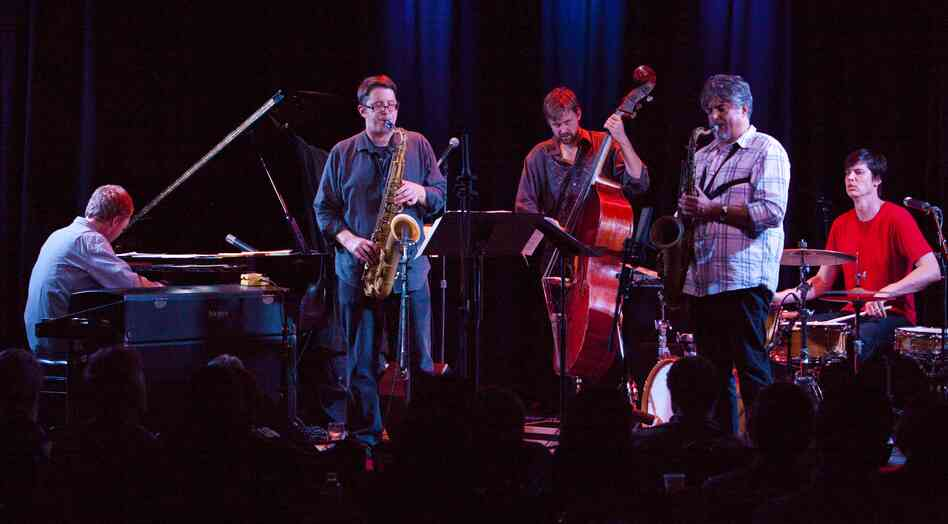 Chris Lightcap's Bigmouth band includes (left to right): Matt Mitchell, keyboards; Andrew Bishop, tenor saxophone; Chris Lightcap, bass; Tony Malaby, tenor saxophone; Ches Smith, drums.