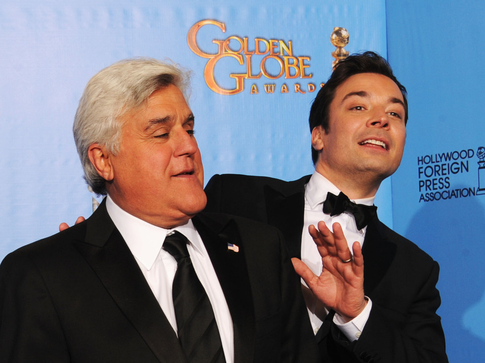Jay Leno and Jimmy Fallon pose in the press room during the Golden Globe Awards in January.