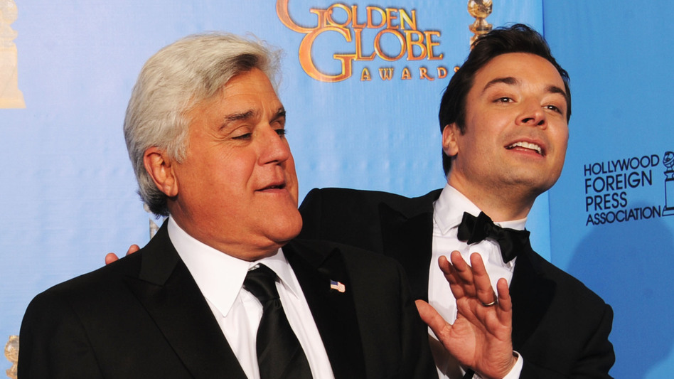 Jay Leno and Jimmy Fallon pose in the press room during the Golden Globe Awards in January. (Getty Images)