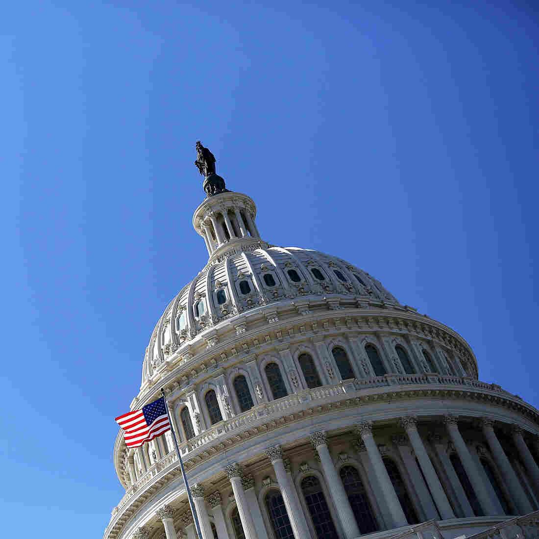 A U.S. flag flies in front of the dome of the U.S. Capitol February 12, 2013.