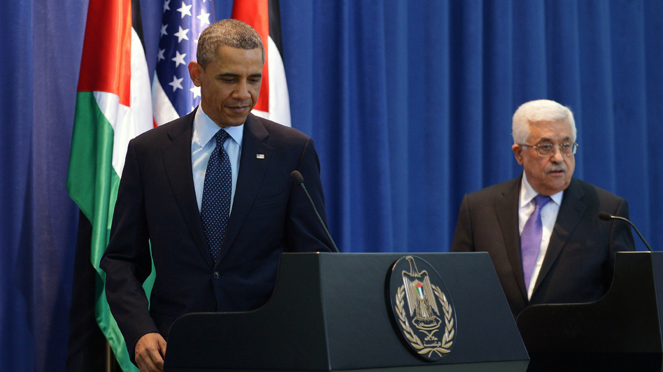 President Barack Obama arives for a joint press conference with Palestinian president Mahmoud Abbas at the Muqataa, the Palestinian Authority headquarters, in the West Bank city of Ramallah. (AFP/Getty Images)