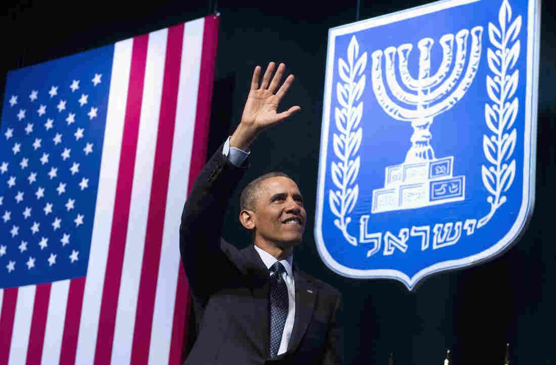 President Barack Obama waves after speaking on at the Convention Center in Jerusalem, on Thursday.