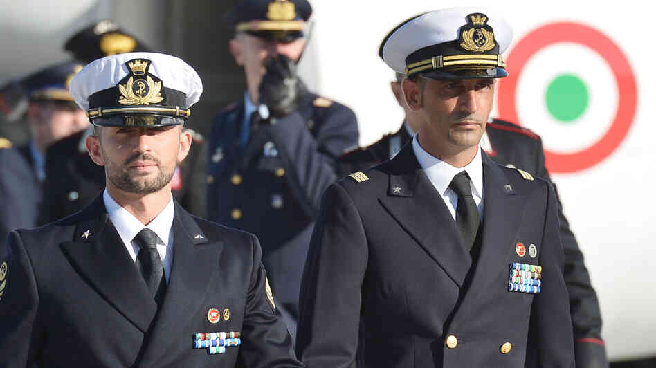 A December 22, 2012, photograph of Italian marines M