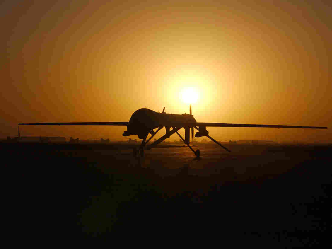 A Predator drone taxis in after a sortie over Iraq in 2004.