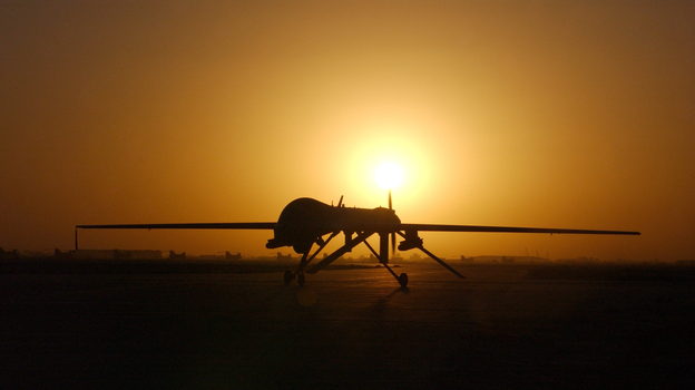 A Predator drone taxis in after a sortie over Iraq in 2004. (Getty Images)