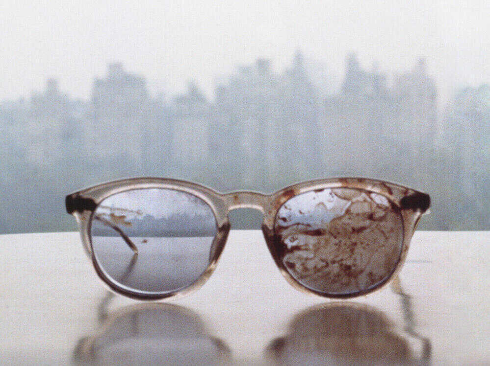 Image of the glasses worn by John Lennon on the day he was shot and killed in 1980.