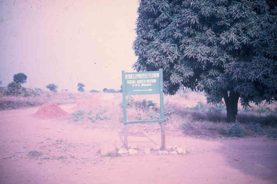"""The sign at the entrance to BLS (Benue Leprosy Settlement). Even as a child, I remember this sign well. I spent my summers in and around the hospital, so we drove past it almost every day."""