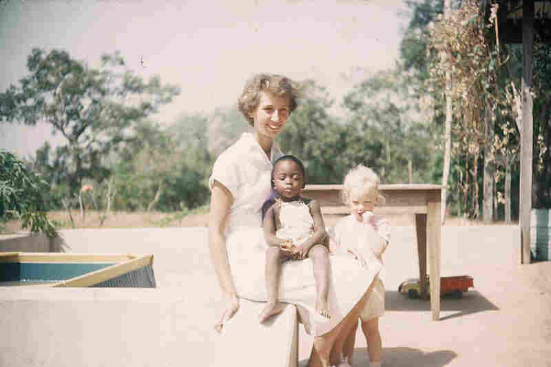 """Designer Senongo Akpem has built a website from his mother's photos called """"Lost Nigeria."""" Images like this one document her early years as a California nurse living in Nigeria — where she stayed and married a Nigerian preacher. Later photos of their family vacations to the U.S. are a striking contrast."""