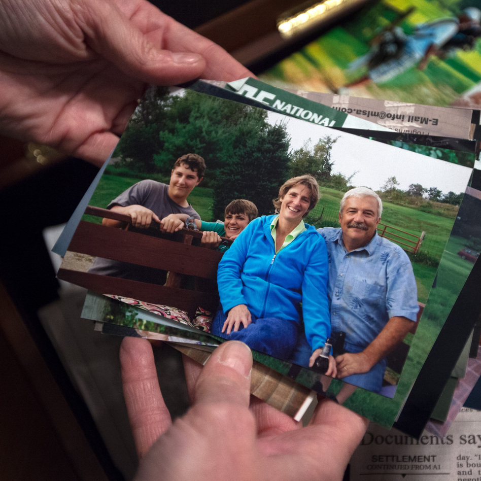 Wyatt Whitebread is seen in the center of a family snapshot that includes his mother and father, Carla and Gary, and his older brother (left). (NPR)