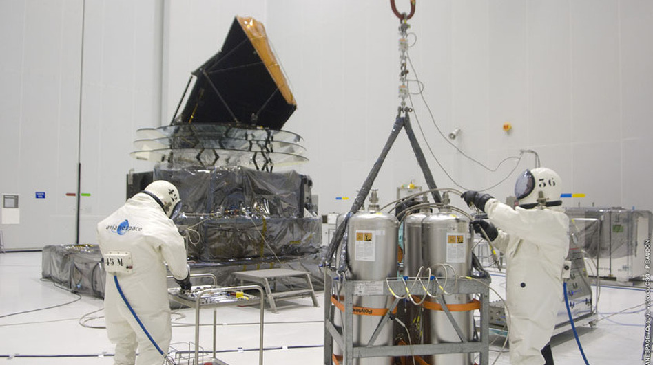 Technicians prepare the Planck satellite for hydrazine fueling in April 2009. (ESA-CNES-Arianespace)
